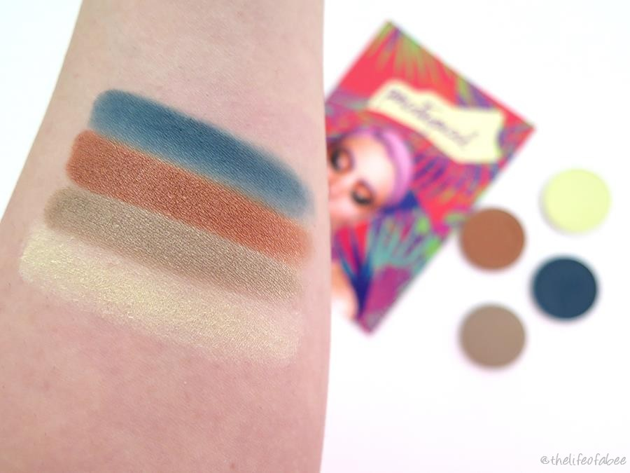 psicotropical neve cosmetics recensione swatch pastello occhi sombra jacaranda isla palm