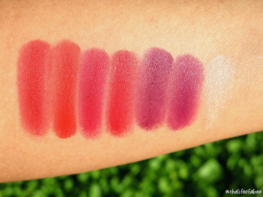 swatch review Color Drama Lip Contour Palette Maybelline crimson vixien